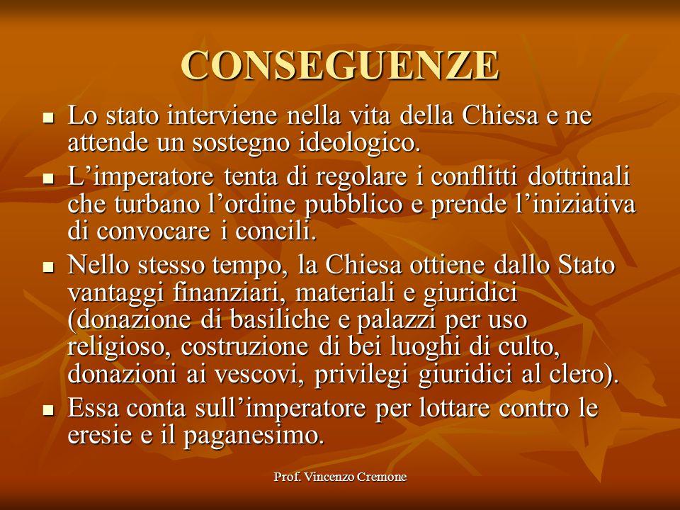 Prof. Vincenzo Cremone CONSEGUENZE Lo stato interviene nella vita della Chiesa e ne attende un sostegno ideologico. Lo stato interviene nella vita del