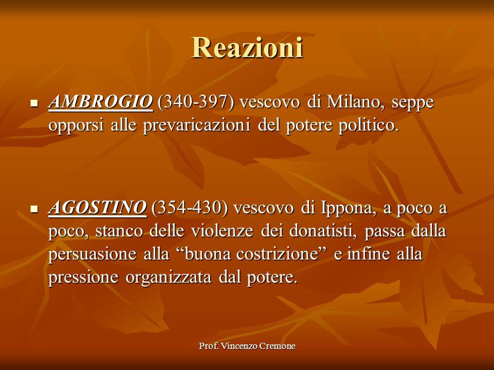 Prof. Vincenzo Cremone Reazioni AMBROGIO (340-397) vescovo di Milano, seppe opporsi alle prevaricazioni del potere politico. AMBROGIO (340-397) vescov