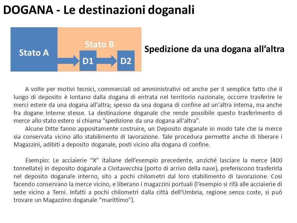 DOGANA - Le destinazioni doganali A volte per motivi tecnici, commerciali od amministrativi od anche per il semplice fatto che il luogo di deposito è