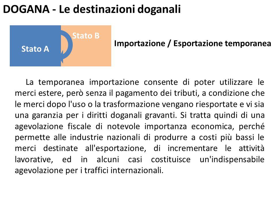DOGANA - Le destinazioni doganali La temporanea importazione consente di poter utilizzare le merci estere, però senza il pagamento dei tributi, a cond