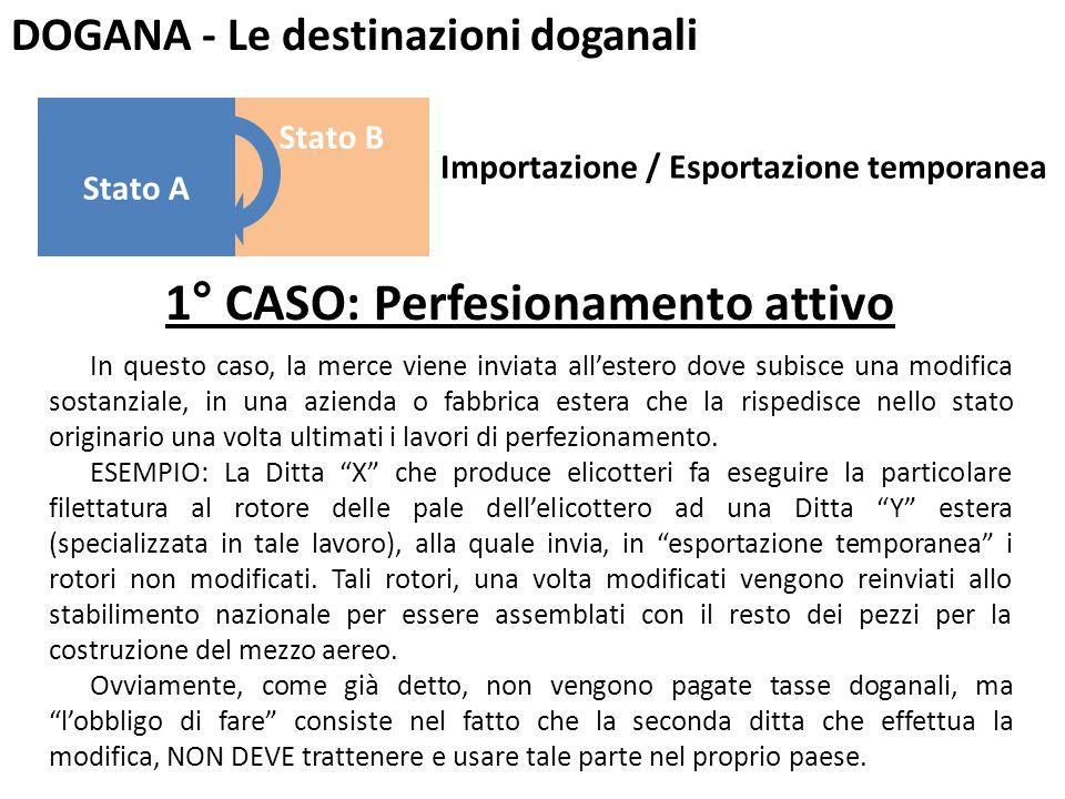 DOGANA - Le destinazioni doganali 1° CASO: Perfesionamento attivo In questo caso, la merce viene inviata all'estero dove subisce una modifica sostanzi