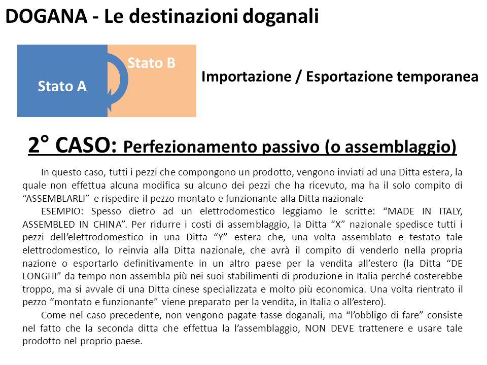 DOGANA - Le destinazioni doganali 2° CASO: Perfezionamento passivo (o assemblaggio) In questo caso, tutti i pezzi che compongono un prodotto, vengono