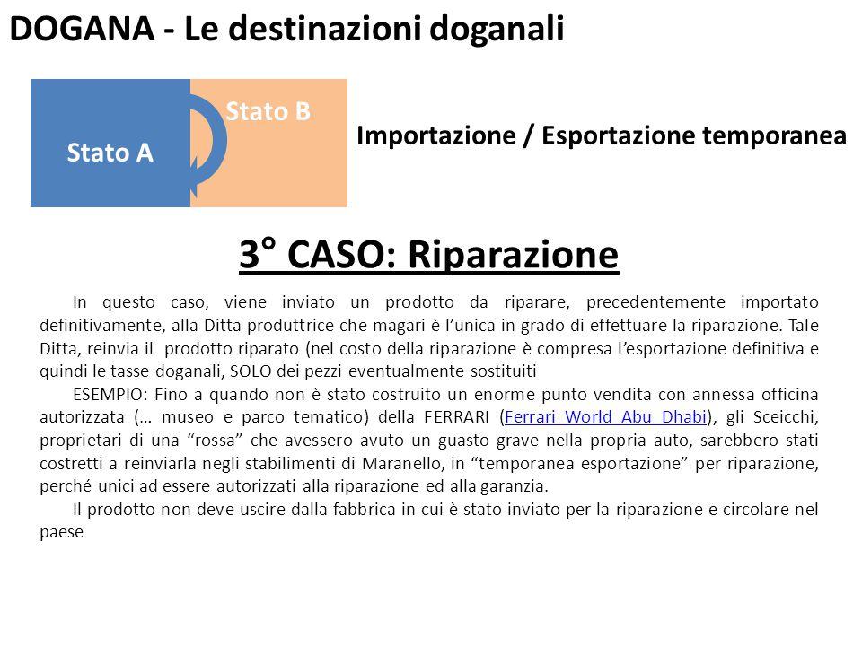 DOGANA - Le destinazioni doganali 3° CASO: Riparazione In questo caso, viene inviato un prodotto da riparare, precedentemente importato definitivament