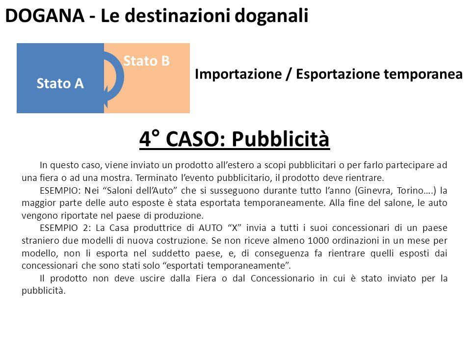DOGANA - Le destinazioni doganali 4° CASO: Pubblicità In questo caso, viene inviato un prodotto all'estero a scopi pubblicitari o per farlo partecipar