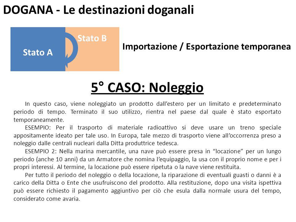 DOGANA - Le destinazioni doganali 5° CASO: Noleggio In questo caso, viene noleggiato un prodotto dall'estero per un limitato e predeterminato periodo