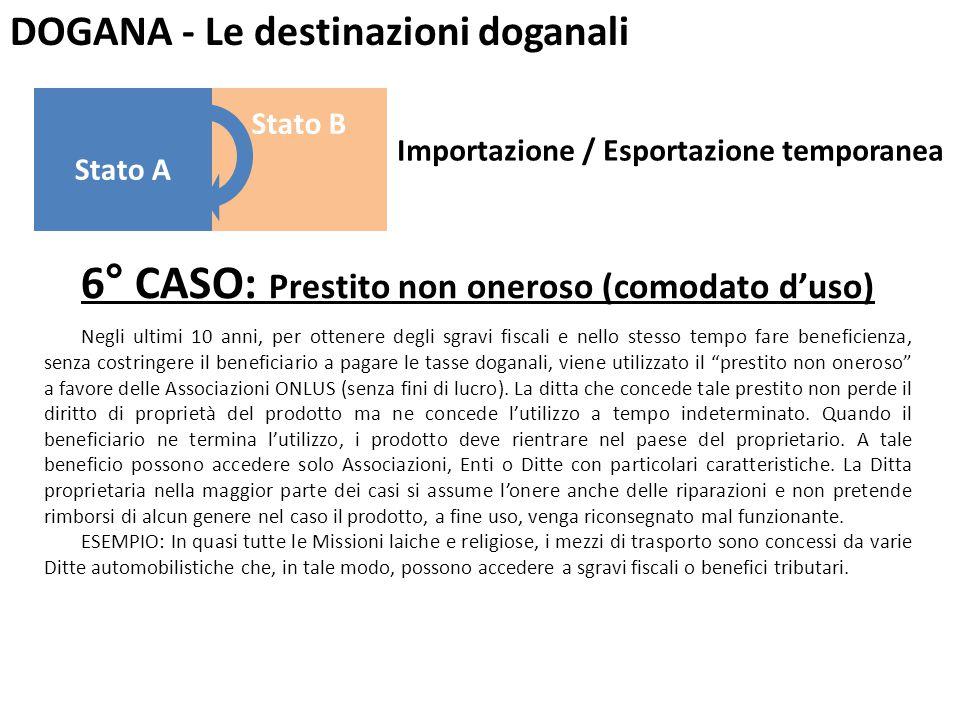 DOGANA - Le destinazioni doganali 6° CASO: Prestito non oneroso (comodato d'uso) Negli ultimi 10 anni, per ottenere degli sgravi fiscali e nello stess