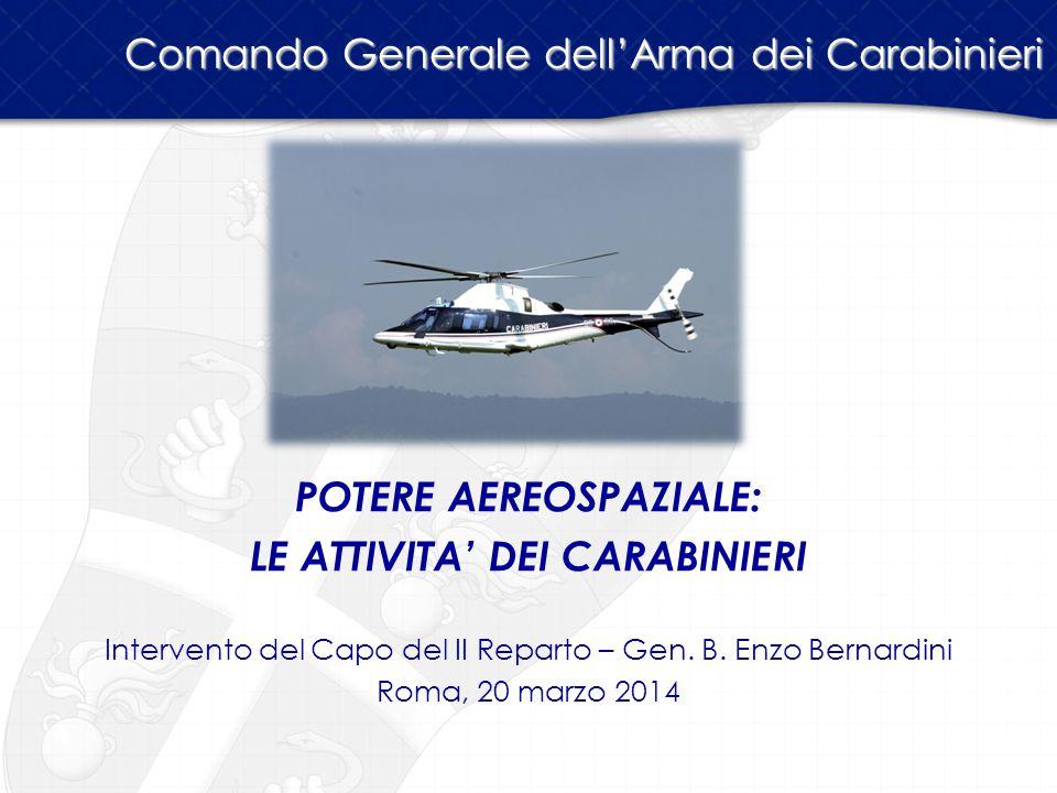 POTERE AEREOSPAZIALE: LE ATTIVITA' DEI CARABINIERI Intervento del Capo del II Reparto – Gen. B. Enzo Bernardini Roma, 20 marzo 2014 Comando Generale d