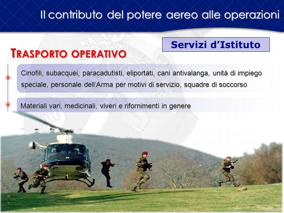 Servizi d'Istituto Il contributo del potere aereo alle operazioni T RASPORTO OPERATIVO Cinofili, subacquei, paracadutisti, eliportati, cani antivalang