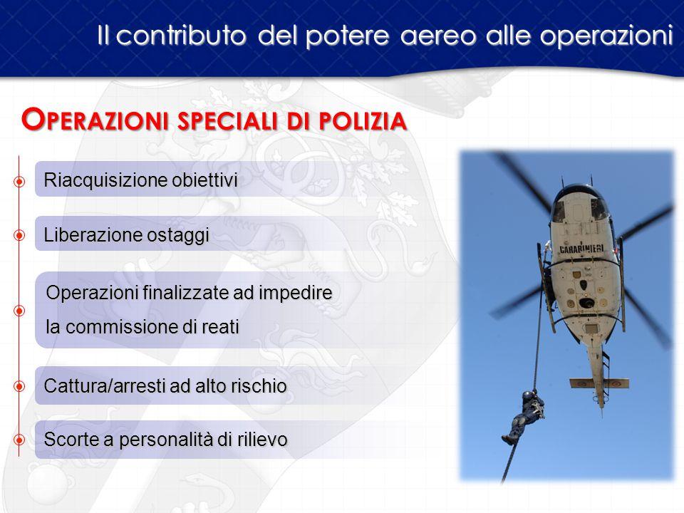 Il contributo del potere aereo alle operazioni Riacquisizione obiettivi O PERAZIONI SPECIALI DI POLIZIA Liberazione ostaggi Operazioni finalizzate ad