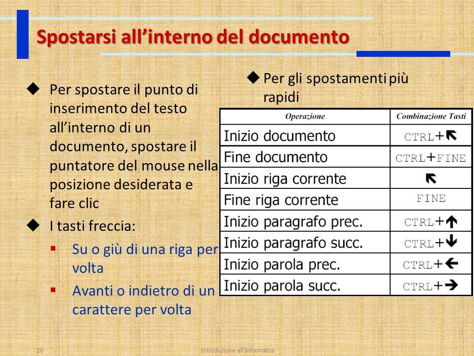 Introduzione all'Informatica20 Spostarsi all'interno del documento  Per spostare il punto di inserimento del testo all'interno di un documento, spost