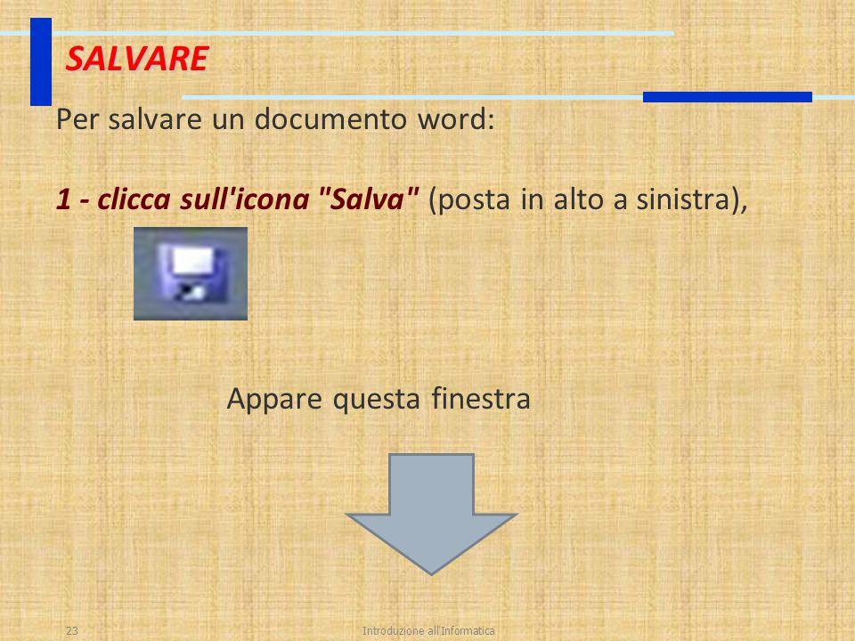 Introduzione all'Informatica23 SALVARE Per salvare un documento word: 1 - clicca sull'icona