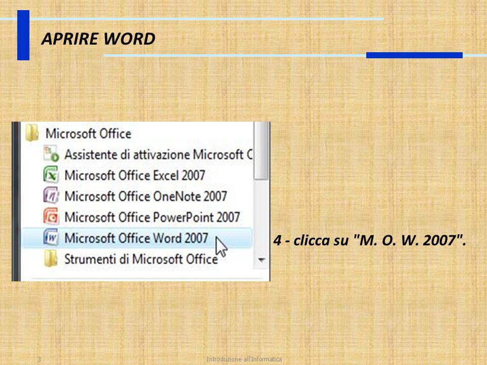 Introduzione all Informatica24 SALVARE Questa finestra ti propone: - di salvare il tuo documento word all interno della cartella documenti (salva in: documenti).