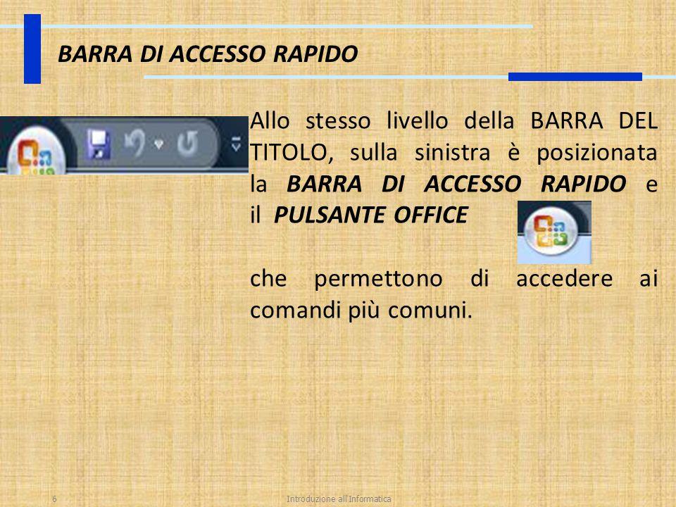 Introduzione all'Informatica6 BARRA DI ACCESSO RAPIDO Allo stesso livello della BARRA DEL TITOLO, sulla sinistra è posizionata la BARRA DI ACCESSO RAP