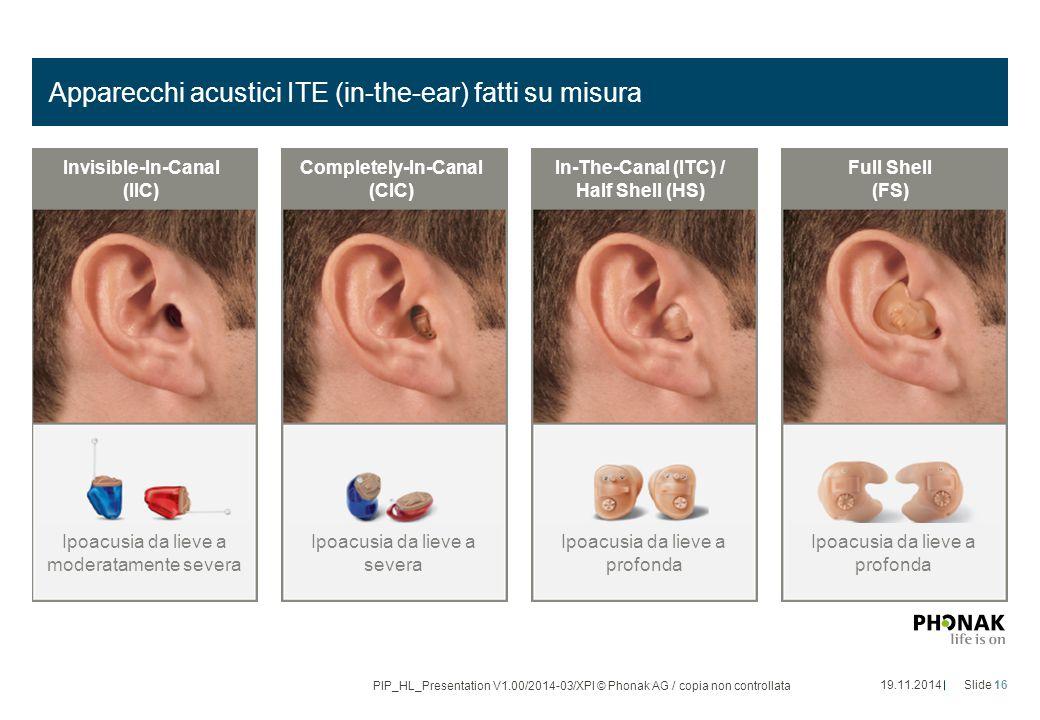 Apparecchi acustici ITE (in-the-ear) fatti su misura 19.11.2014Slide 16 PIP_HL_Presentation V1.00/2014-03/XPl © Phonak AG / copia non controllata Ipoa