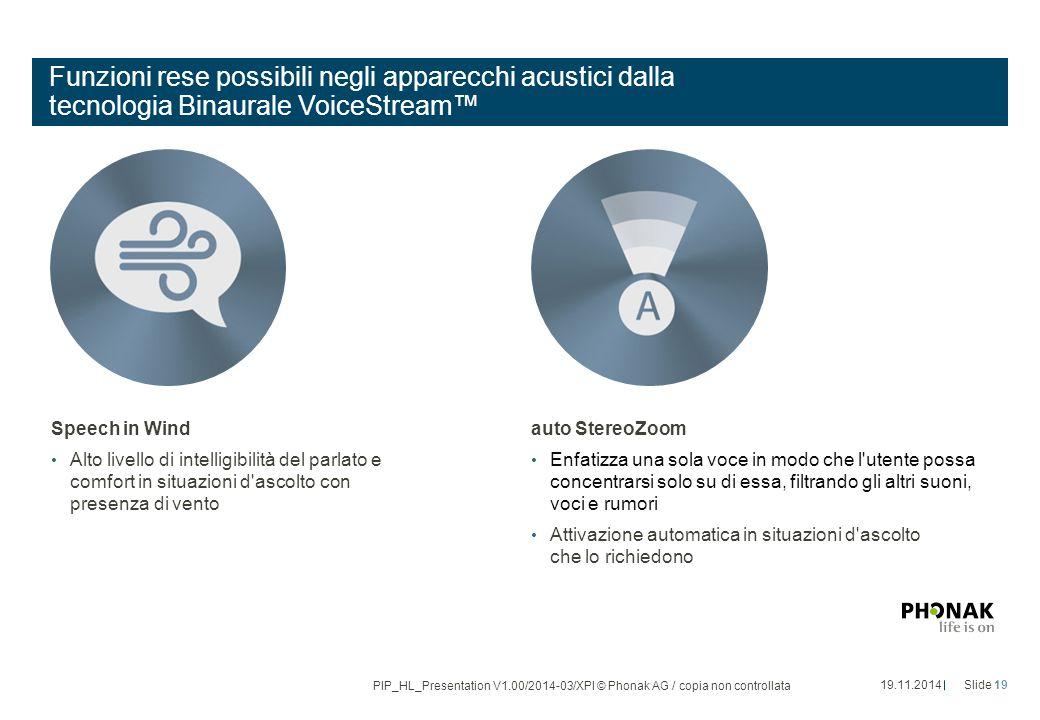 Funzioni rese possibili negli apparecchi acustici dalla tecnologia Binaurale VoiceStream™ Speech in Wind Alto livello di intelligibilità del parlato e