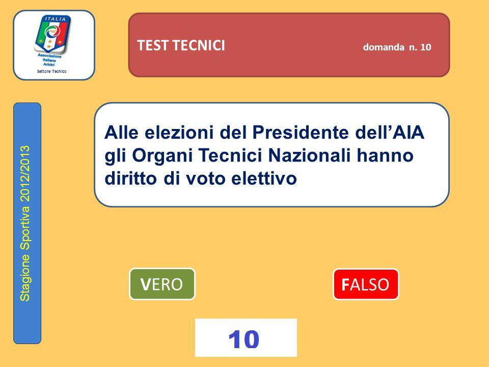 Settore Tecnico Stagione Sportiva 2012/2013 TEST TECNICI domanda n. 10 Alle elezioni del Presidente dell'AIA gli Organi Tecnici Nazionali hanno diritt