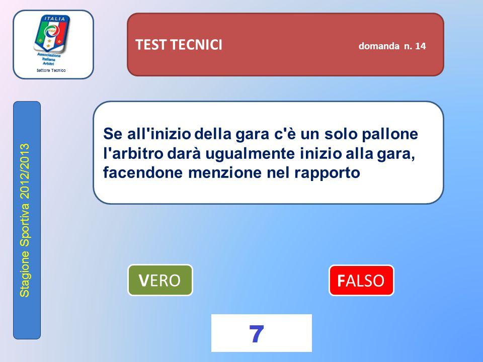 Settore Tecnico Stagione Sportiva 2012/2013 TEST TECNICI domanda n. 14 Se all'inizio della gara c'è un solo pallone l'arbitro darà ugualmente inizio a