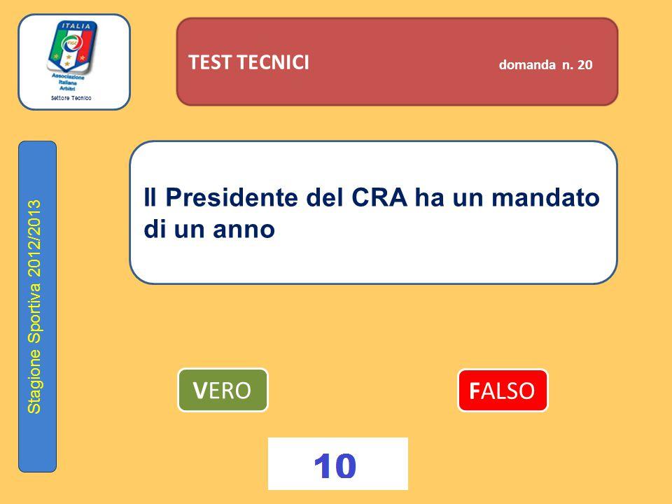 Settore Tecnico Stagione Sportiva 2012/2013 TEST TECNICI domanda n. 20 Il Presidente del CRA ha un mandato di un anno VERO FALSO