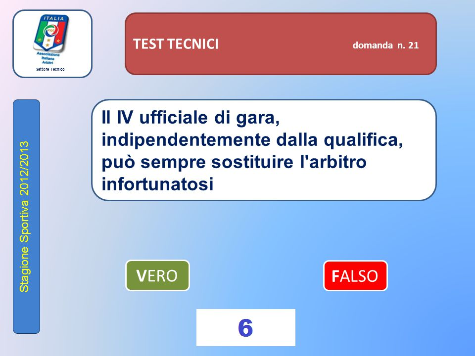 Settore Tecnico Stagione Sportiva 2012/2013 TEST TECNICI domanda n. 21 Il IV ufficiale di gara, indipendentemente dalla qualifica, può sempre sostitui