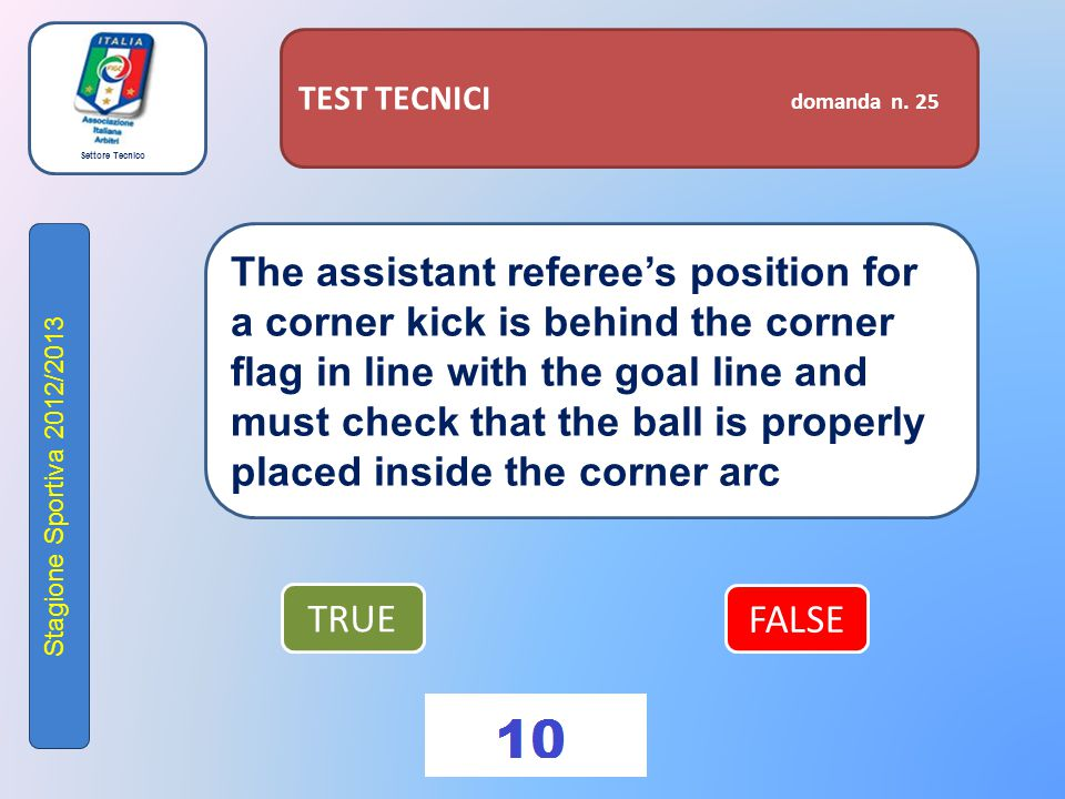Settore Tecnico Stagione Sportiva 2012/2013 TEST TECNICI domanda n. 25 The assistant referee's position for a corner kick is behind the corner flag in