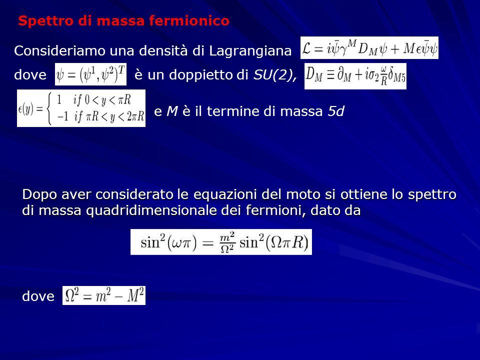 Spettro di massa fermionico Consideriamo una densità di Lagrangiana dove è un doppietto di SU(2), e M è il termine di massa 5d Dopo aver considerato le equazioni del moto si ottiene lo spettro di massa quadridimensionale dei fermioni, dato da dove