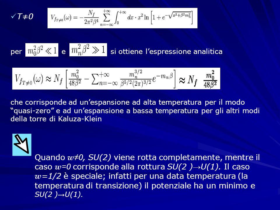 T≠0 per e si ottiene l'espressione analitica Quando w ≠0, SU(2) viene rotta completamente, mentre il caso w =0 corrisponde alla rottura SU(2 ) → U(1).