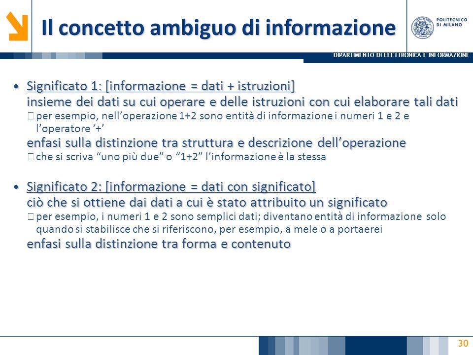 DIPARTIMENTO DI ELETTRONICA E INFORMAZIONE 30 Significato 1: [informazione = dati + istruzioni] insieme dei dati su cui operare e delle istruzioni con cui elaborare tali dati Significato 1: [informazione = dati + istruzioni] insieme dei dati su cui operare e delle istruzioni con cui elaborare tali dati ▶ per esempio, nell'operazione 1+2 sono entità di informazione i numeri 1 e 2 e l'operatore '+' enfasi sulla distinzione tra struttura e descrizione dell'operazione ▶ che si scriva uno più due o 1+2 l'informazione è la stessa Significato 2: [informazione = dati con significato] ciò che si ottiene dai dati a cui è stato attribuito un significato Significato 2: [informazione = dati con significato] ciò che si ottiene dai dati a cui è stato attribuito un significato ▶ per esempio, i numeri 1 e 2 sono semplici dati; diventano entità di informazione solo quando si stabilisce che si riferiscono, per esempio, a mele o a portaerei enfasi sulla distinzione tra forma e contenuto