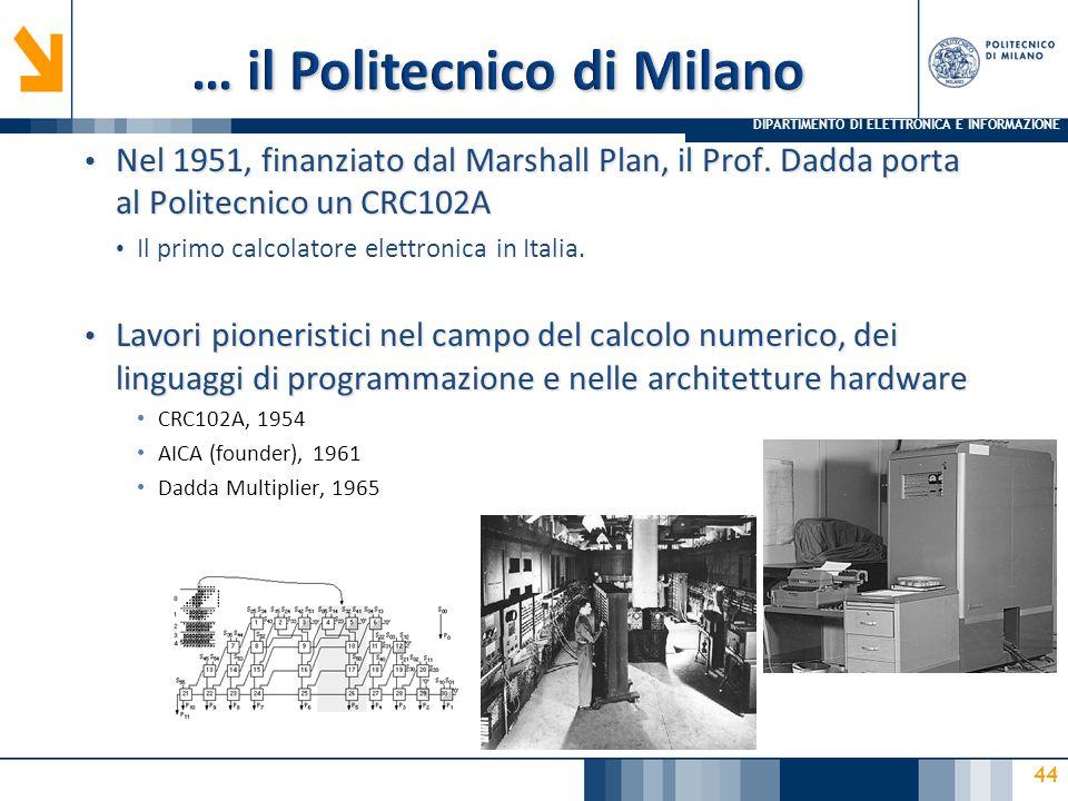 DIPARTIMENTO DI ELETTRONICA E INFORMAZIONE 44 Nel 1951, finanziato dal Marshall Plan, il Prof.
