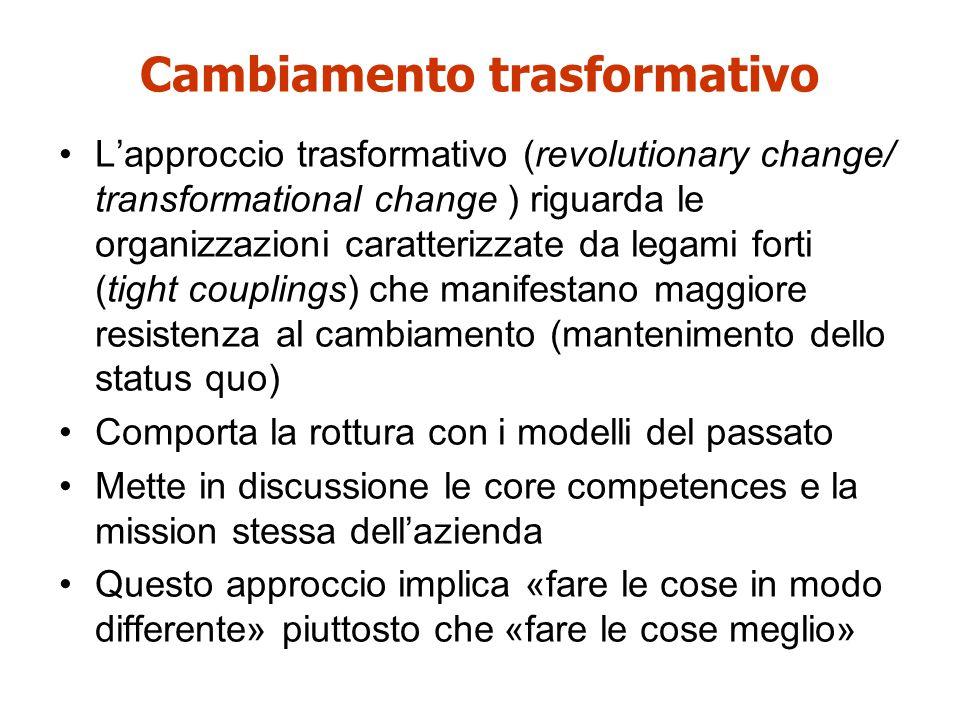 L'approccio trasformativo (revolutionary change/ transformational change ) riguarda le organizzazioni caratterizzate da legami forti (tight couplings)