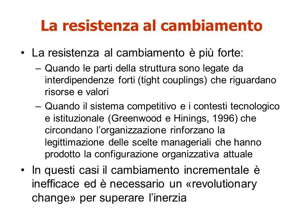 La resistenza al cambiamento La resistenza al cambiamento è più forte: –Quando le parti della struttura sono legate da interdipendenze forti (tight co