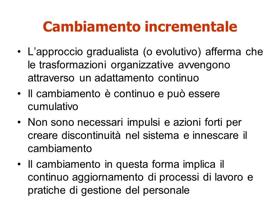 Cambiamento incrementale L'approccio gradualista (o evolutivo) afferma che le trasformazioni organizzative avvengono attraverso un adattamento continu