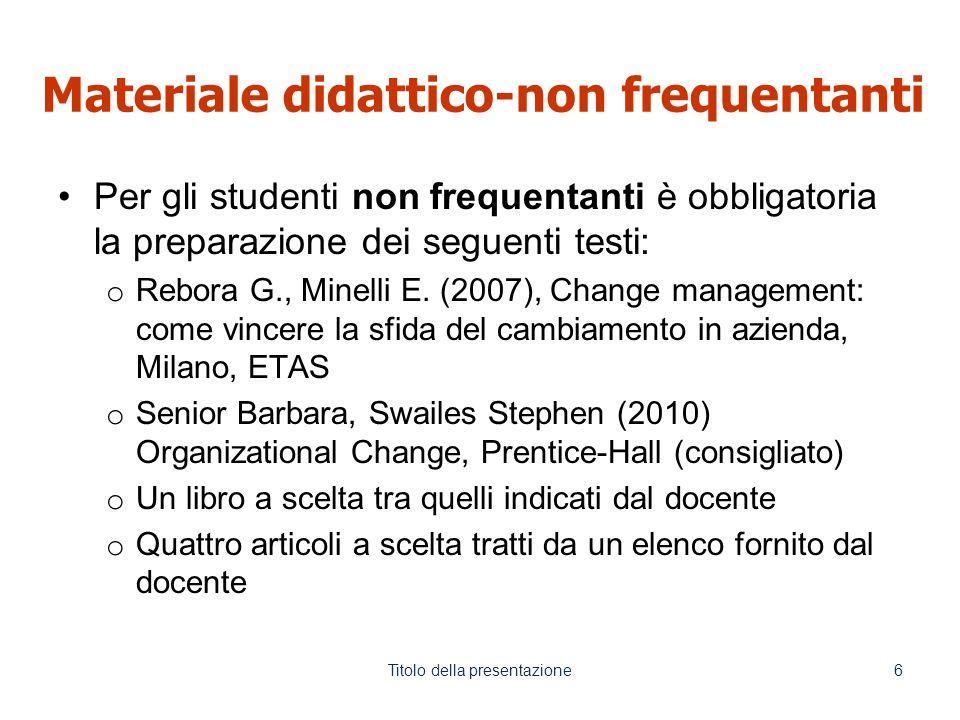 Materiale didattico-non frequentanti Per gli studenti non frequentanti è obbligatoria la preparazione dei seguenti testi: o Rebora G., Minelli E.