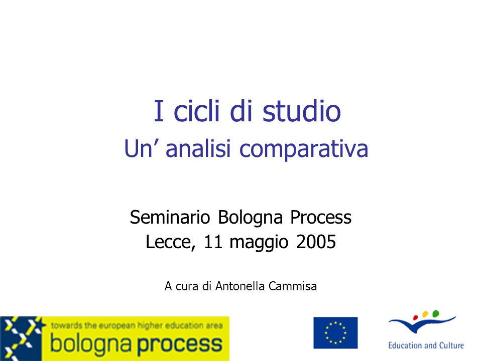 I cicli di studio Un' analisi comparativa Seminario Bologna Process Lecce, 11 maggio 2005 A cura di Antonella Cammisa