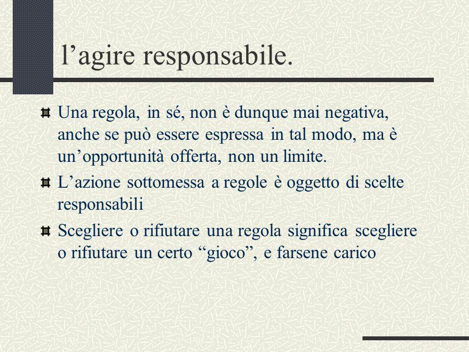 l'agire responsabile. Una regola, in sé, non è dunque mai negativa, anche se può essere espressa in tal modo, ma è un'opportunità offerta, non un limi