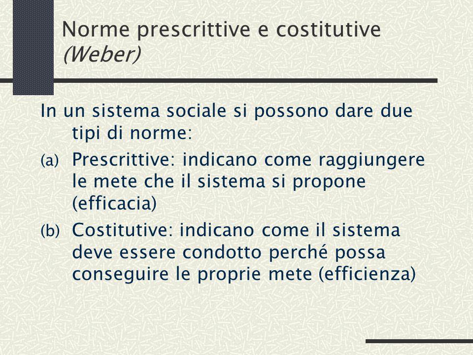 Norme prescrittive e costitutive (Weber) In un sistema sociale si possono dare due tipi di norme: (a) Prescrittive: indicano come raggiungere le mete che il sistema si propone (efficacia) (b) Costitutive: indicano come il sistema deve essere condotto perché possa conseguire le proprie mete (efficienza)