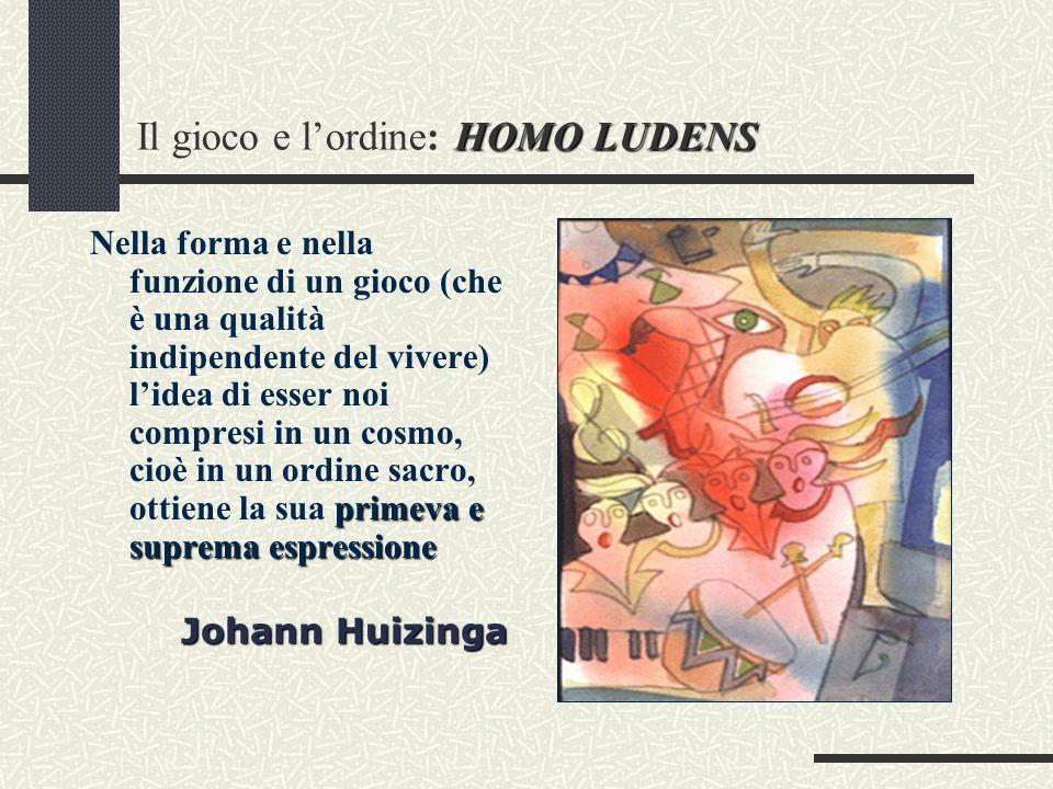 HOMO LUDENS Il gioco e l'ordine: HOMO LUDENS primeva e suprema espressione Nella forma e nella funzione di un gioco (che è una qualità indipendente del vivere) l'idea di esser noi compresi in un cosmo, cioè in un ordine sacro, ottiene la sua primeva e suprema espressione Johann Huizinga