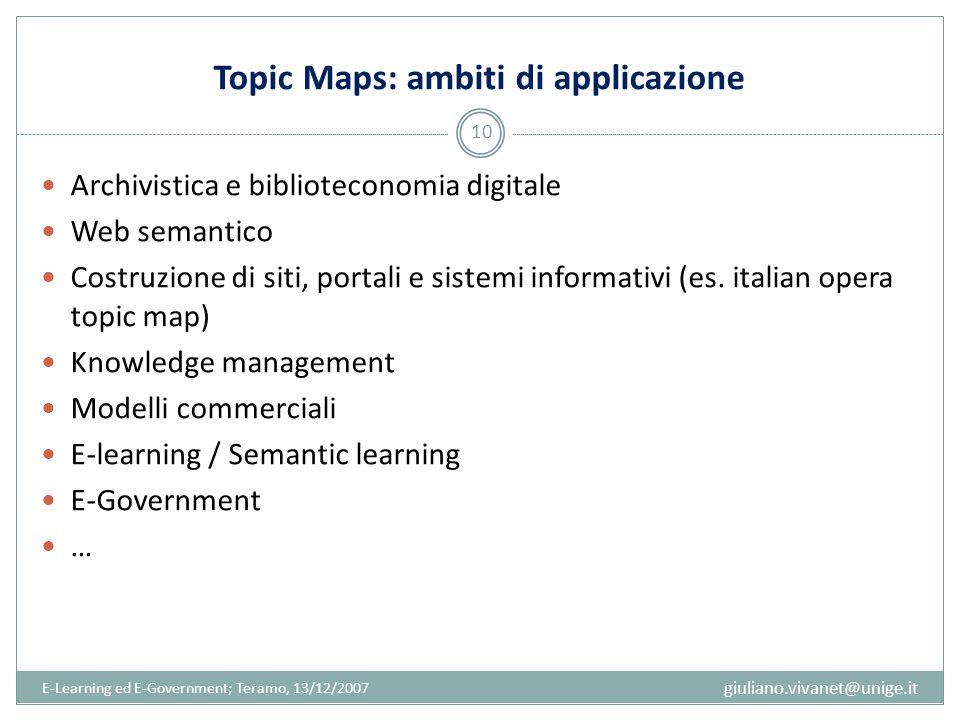 Topic Maps: ambiti di applicazione Archivistica e biblioteconomia digitale Web semantico Costruzione di siti, portali e sistemi informativi (es. itali