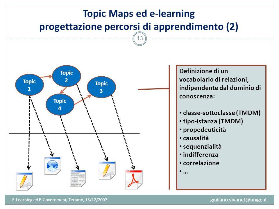 E-Learning ed E-Government; Teramo, 13/12/2007 13 giuliano.vivanet@unige.it Topic 1 Topic 2 Topic 4 Topic 3 Definizione di un vocabolario di relazioni