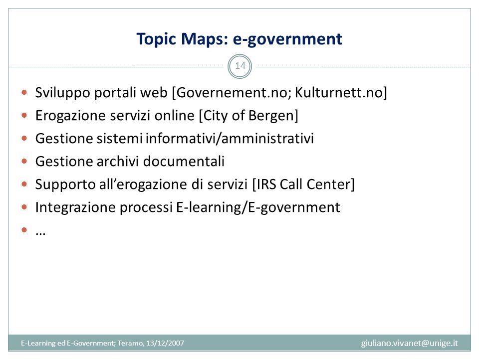 Topic Maps: e-government Sviluppo portali web [Governement.no; Kulturnett.no] Erogazione servizi online [City of Bergen] Gestione sistemi informativi/