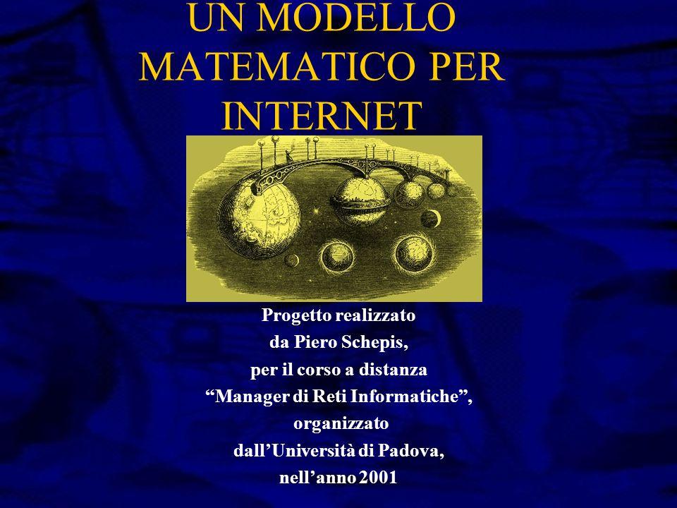UN MODELLO MATEMATICO PER INTERNET Progetto realizzato da Piero Schepis, per il corso a distanza Manager di Reti Informatiche , organizzato dall'Università di Padova, nell'anno 2001
