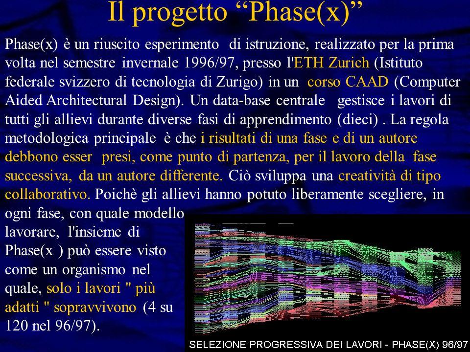 Il progetto Phase(x) Phase(x) è un riuscito esperimento di istruzione, realizzato per la prima volta nel semestre invernale 1996/97, presso l ETH Zurich (Istituto federale svizzero di tecnologia di Zurigo) in un corso CAAD (Computer Aided Architectural Design).