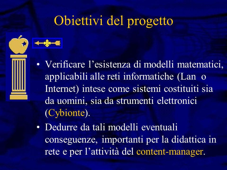 Obiettivi del progetto Verificare l'esistenza di modelli matematici, applicabili alle reti informatiche (Lan o Internet) intese come sistemi costituiti sia da uomini, sia da strumenti elettronici (Cybionte).