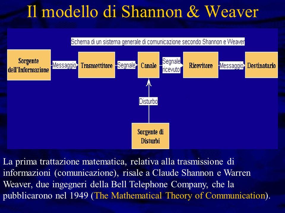 Il modello di Shannon & Weaver La prima trattazione matematica, relativa alla trasmissione di informazioni (comunicazione), risale a Claude Shannon e Warren Weaver, due ingegneri della Bell Telephone Company, che la pubblicarono nel 1949 (The Mathematical Theory of Communication).