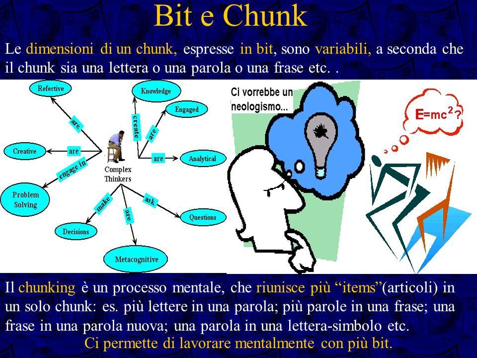 Bit e Chunk Le dimensioni di un chunk, espresse in bit, sono variabili, a seconda che il chunk sia una lettera o una parola o una frase etc..