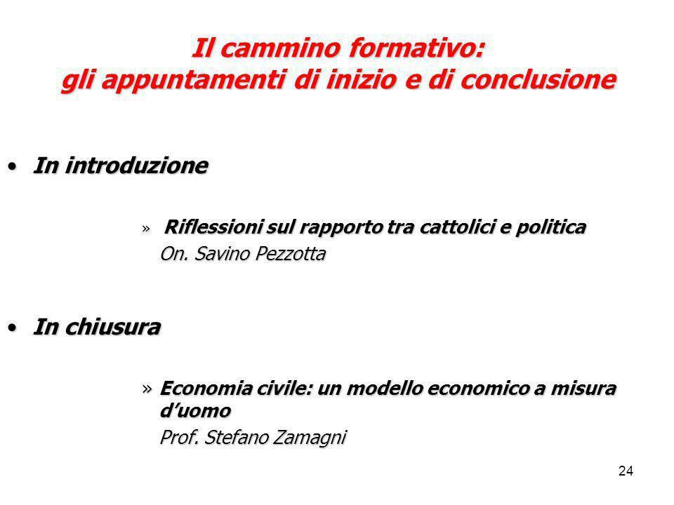 24 Il cammino formativo: gli appuntamenti di inizio e di conclusione In introduzioneIn introduzione » Riflessioni sul rapporto tra cattolici e politica On.