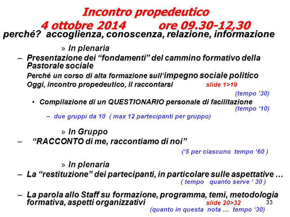 """33 Incontro propedeutico 4 ottobre 2014 ore 09.30-12,30 perché? accoglienza, conoscenza, relazione, informazione »In plenaria –Presentazione dei """"fond"""