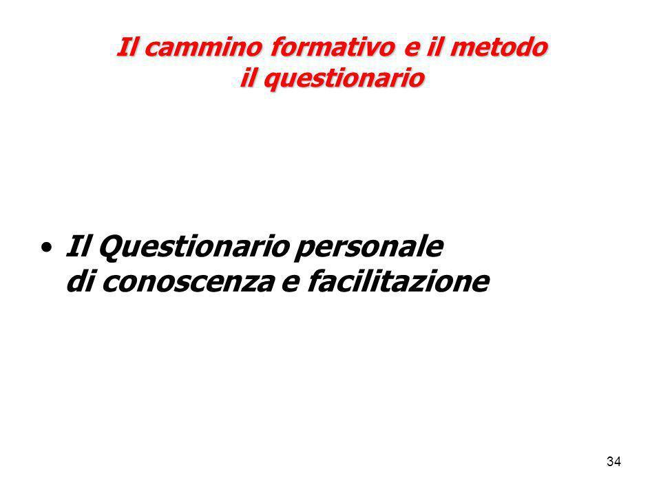 34 Il cammino formativo e il metodo il questionario Il Questionario personale di conoscenza e facilitazione