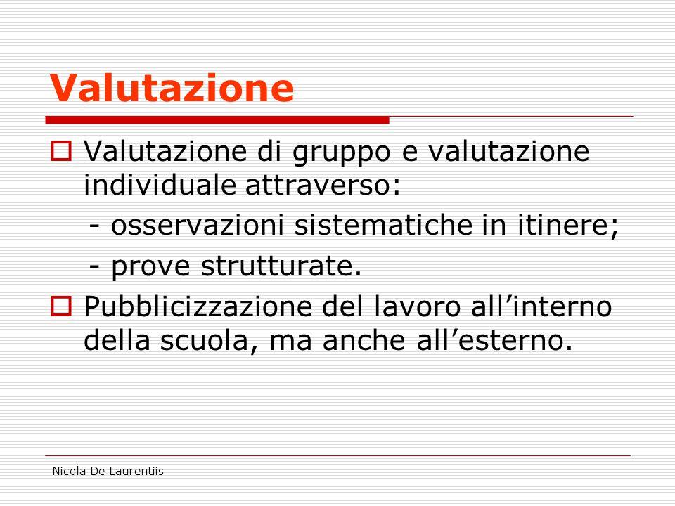 Nicola De Laurentiis Valutazione  Valutazione di gruppo e valutazione individuale attraverso: - osservazioni sistematiche in itinere; - prove strutturate.