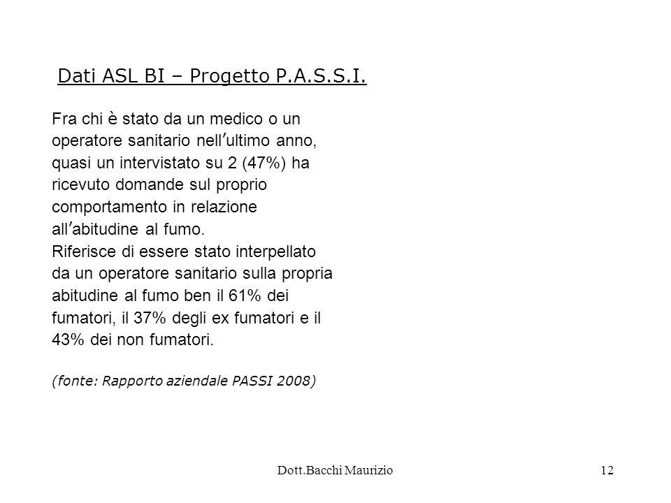 Dott.Bacchi Maurizio12 Dati ASL BI – Progetto P.A.S.S.I.