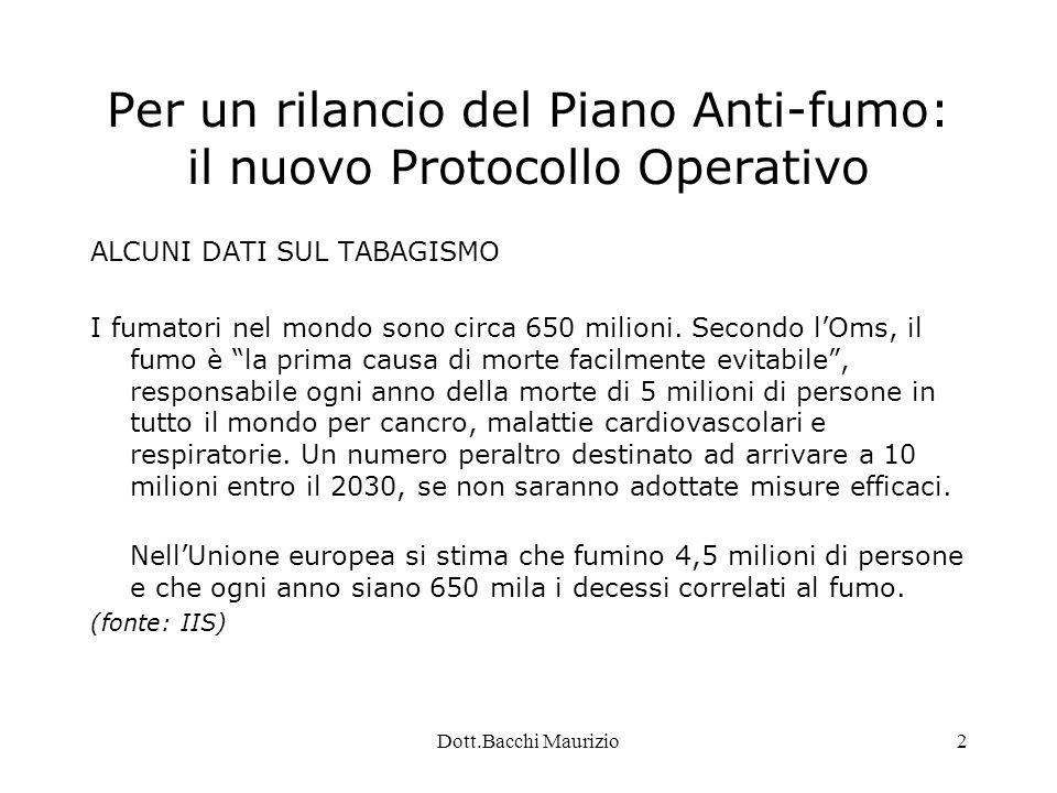 Dott.Bacchi Maurizio2 Per un rilancio del Piano Anti-fumo: il nuovo Protocollo Operativo ALCUNI DATI SUL TABAGISMO I fumatori nel mondo sono circa 650 milioni.